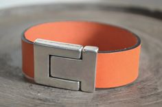 Personalized Leather Bracelet. Orange Leather. Magnetic by ByCeci