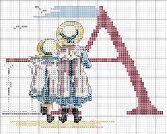 ABC with children Cross Stitch Sea, Small Cross Stitch, Cross Stitch Letters, Cross Stitch For Kids, Cross Stitch Charts, Counted Cross Stitch Patterns, Cross Stitch Embroidery, Embroidery Alphabet, Baby Kind