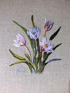 Картины цветов ручной работы. Вышитая гладью картина