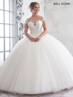Lace Ball Gowns, Tulle Ball Gown, Ball Gown Dresses, Sexy Wedding Dresses, Bridal Dresses, Wedding Gowns, Ivory, Illusion, Cap Sleeves