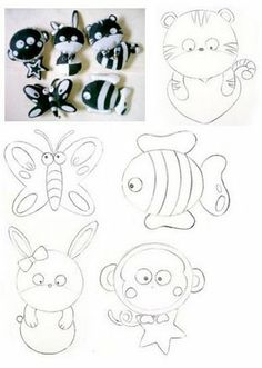 cutel felt animal patterns (tiger, butterfly, fish, bunny, monkey)