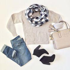 Ann Taylor cozy pocket sweater, Forever 21 plaid checkered scarf, Nordstrom Rack black booties, Loft modern distressed denim jeans, Tory Burch Thea satchel // StylishPetite.com