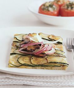 Think of this as a streamlined version of a Sicilian pie, with mushrooms, red onion, and finely sliced zucchini. | Vegetarians and meat-lovers alike will fall for these vegetable-driven dishes.