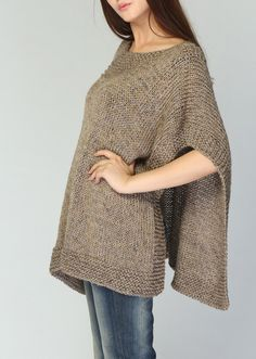 Hand knitted Poncho/ capelet eco cotton poncho in от MaxMelody