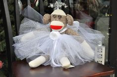 Christmas Angel Tutu Sock Monkey  Free US by ABornOriginal on Etsy, $55.00