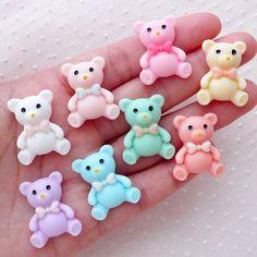 Teddy Bear Decoden Cabochons / Animal Kawaii Cabochon (8pcs / 19mm x 24mm / Pastel)