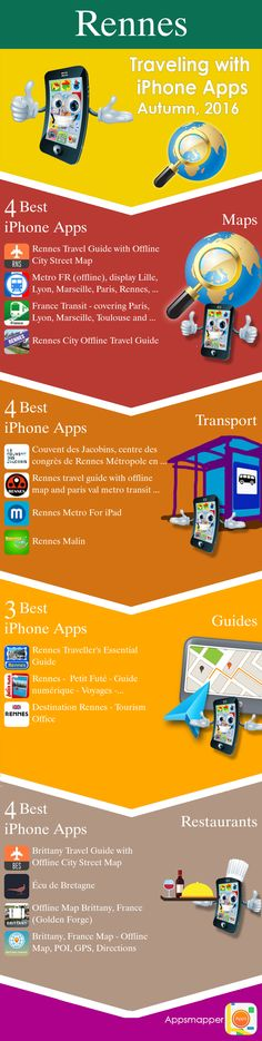 Rennes iPhone apps: Travel Guides, Maps, Transportation, Biking, Museums, Parking, Sport and apps for Students.