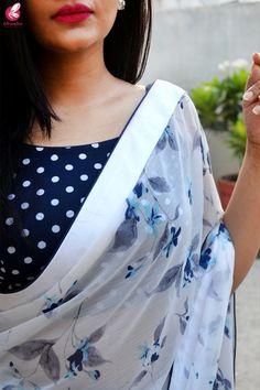 Buy Multicolored Printed Chiffon Satin Taping Saree - Sarees Online in India Saree Jacket Designs, Saree Blouse Neck Designs, Chiffon Saree, Banarsi Saree, Simple Sarees, Stylish Sarees, Casual Saree, Saree Styles, Saree Collection