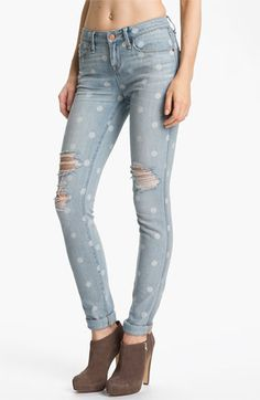 MARC BY MARC JACOBS Distressed Print Skinny Jeans (Lily Dot) available at Nordstrom