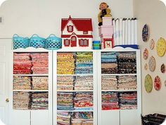 sewing room-fabric stash by Julia Bravo