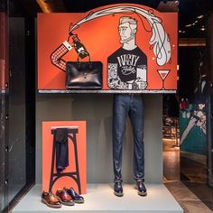 Our new Window Displays are now up! Window Display Design, Store Window Displays, Shoe Display, Visual Merchandising Displays, Visual Display, Vitrine Outlet, Denim Display, Vitrine Design, Fashion Displays