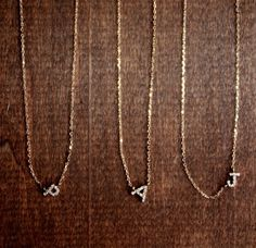 Small 14k Gold Diamond Initial Necklaces