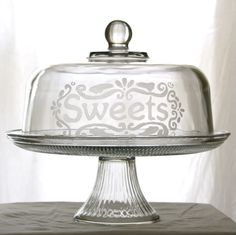 Etched Glass Cake Dome with Stand