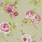 English Rose Floral Sage Oilcloth Tablecloth