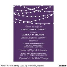 Purple Modern String Lights Engagement Party Card