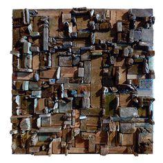 Cubist wood assemblage (artist unknown)