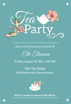 """Bridal shower tea party"" printable invitation. Customize, add text and photos. print for free!"