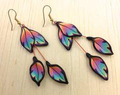 Fimo Earrings Rainbow Earrings Polymer Clay earrings Floral earrings fantasy Earrings Leaf Earrings kato Dangle Earrings Polymer clay E0037