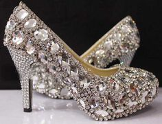 Spark Custom Made Silver Beaded Rhinestone High Heels Bridal Wedding Shoes For Party Evening Prom Dresses ♥♥♥♥♥♥♥♥♥♥♥♥♥♥♥♥♥♥♥♥