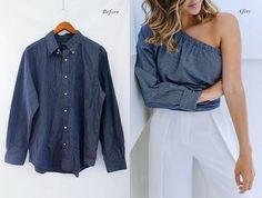 Men's shirt into Women's One shoulder Blouse