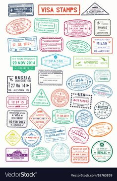 Royalty-Free Vector Images by reportman (over Journal Stickers, Planner Stickers, Printable Stickers, Cute Stickers, Travel Stamp, Passport Travel, Passport Stamps, Passport Template, Vintage Stamps