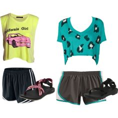 """""""crop tops, norts, and chacos"""" by dance-1106love on Polyvore"""