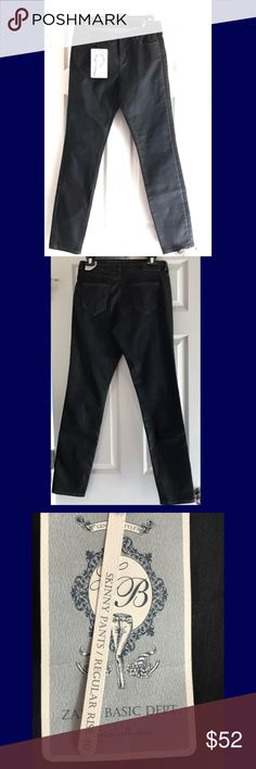 """Just in! NWT Zara jeans 👖 NWT indigo blue coated jeans by Zara. 99% cotton 1% elastane. Low rise skinny jeans 👖. Measures approximately 30"""" waist with a 30.5"""" rise. No lowball offers please 💙 Zara Jeans Skinny"""
