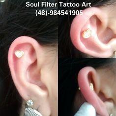 Piercing na cartilagem , Micro bell reto com coração em banho de ouro 18k + pedras de zircônias.