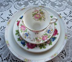 Vintage Mismatched Bone China Set Four Pieces With by MiladyLinden