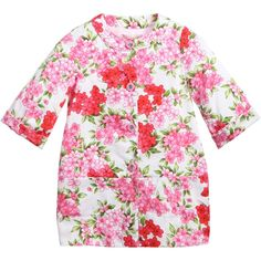 Miss Blumarine girls pink floral lightweight coat made from soft cotton with a full lining and gorgeous jewelled buttons to fasten at the front. In a trendy collarless style, it has elbow length sleeves with turned up cuffs and two front pockets with a signature diamante 'B' logo.<br /> <ul> <li>Coat: 97% cotton, 3% elastane (smooth silky feel)<br /></li> <li>Lining: 100% cotton (soft against the skin)</li> <li>Hand wash</li> <li>Made in Italy<br /></li> </ul>