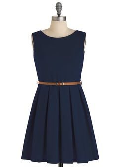 'Tis a Shift to Be Simple Dress in Navy - Vintage Inspired, 50s, Blue, Solid, A-line, Sleeveless, Pleats, Short, Fit & Flare, Belted, Minimal