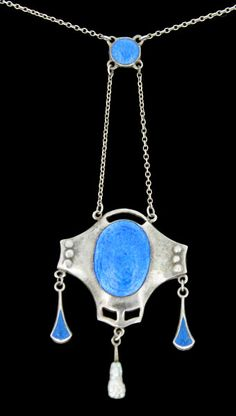 Charles Horner Pendant Silver and Enamel with Enamel and Pearl Drops 1911