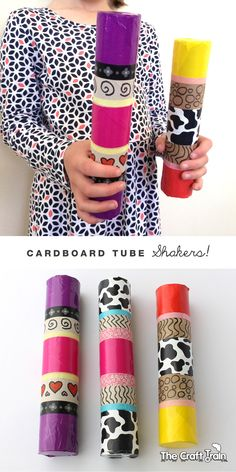 Paper Towel Tube Shakers - with duct tape and washi tape