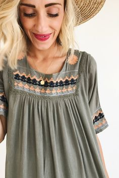Embroidered Dress in Olive | ROOLEE