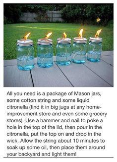 DIY - Citronella Mason Jars - Perfect for outdoor weddings and receptions!