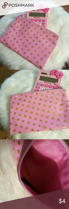 """Pink w/gold polka dot pouch. """"Pretty pink with gold polka dots"""" Zippered pouch good for holding makeup or use it to  organize things in your bag.  (L 9in. H 6in.) New no tags Bags Cosmetic Bags & Cases"""