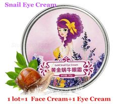 Free Shipping 1lot =2pcs  AFY Gold Snail Eye Cream Dark Circles Wrinkles +AFY Gold Snail Face Cream Anti Aging Moisturizing Acne