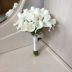White Bridal Bouquet, White Calla Lilly Bouquet, Silk Rose Flower Bouquet For Bridal, Tulips Bridal Bouquet, Ivory Bouquet Lilly Bouquet Wedding, Calla Lillies Bouquet, Calla Lily Bridal Bouquet, Small Bridal Bouquets, Bridesmaid Bouquet White, Silk Wedding Bouquets, Rose And Lily Bouquet, White Tulip Bouquet, Calla Lily Boutonniere