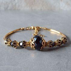 Black and Gold Bracelet Black Crystal Bridesmaid by FiveLittleGems
