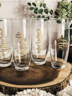 Wedding Gifts For Bridesmaids, Bridesmaids And Groomsmen, Gifts For Wedding Party, Bridesmaid Cups, Wedding Ideas, Wedding Planning, Personalized Champagne Flutes, Stemless Champagne Flutes, Bridesmaid Proposal Gifts