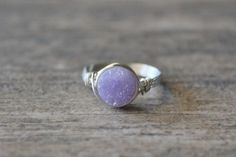 Druzy+Ring+Sterling+Silver+filled+Wire+Wrapped+by+BlueSoulDesigns,+$16.00