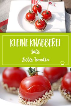 Süße Liebes-Tomaten, ungewöhnlich aber lecker und ganz schnell gemacht! Ein toller Snack! #Fingerfood #Snack Finger Foods, Dessert, Vegetables, Finger Food Recipes, Valentine Gift For Him, Tomatoes, Amazing, Finger Food, Deserts