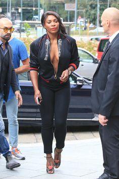 Splurge: Serena Williams's Gucci Spring 2017 Milan Fashion Week Gucci's GucciGhost Word Art Embellished Bomber Jacket West Palm Beach, Divas, Venus And Serena Williams, Elite Fashion, Men's Fashion, Michigan, Angeles, Beautiful Black Women, Front Row