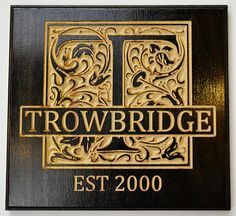 Custom Personalized Family Name Monogram - Established Sign - Stained Carved Wooden Sign Plaque