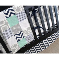 Mint, Navy and Gray Crib Bedding, Nursery Bedding Set, Modern Nursery,... ($41) ❤ liked on Polyvore featuring home, children's room, children's bedding and baby bedding