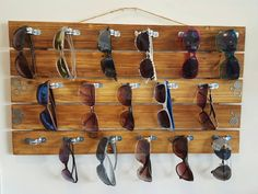 Wall Sunglass Display/Holder (holds 17 pairs) - Vintage/Industrial Style
