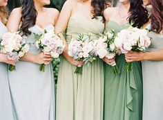 Green Bridesmaids Dresses and Rose Bouquets | Urban Poppy | Odalys Mendez Photography https://www.theknot.com/marketplace/odalys-mendez-photography-newnan-ga-368132 | Chancey Charm https://www.theknot.com/marketplace/chancey-charm-atlanta-ga-583487 |