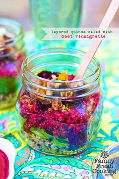 A layered quinoa salad from @Marla Meridith Family Fresh Cooking - served in a mason jar for a pretty presentation. What an amazing and refreshing looking salad.