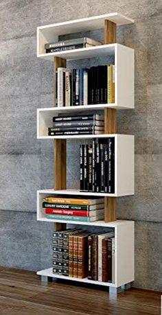 BLOCK tall bookcase, bookshelf, white shelving unit, walnut (WHITE-WALNUT)