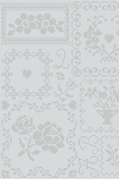 PiP Cross Stitch Grey wallpaper | Traditional | Wallpaper | PiP Studio